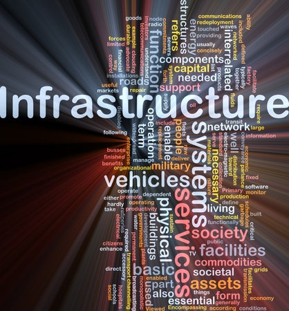 Background concept wordcloud illustration of infrastructure glowing light Stock Illustration - 9914654