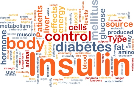 muscle cell: Background concept wordcloud illustration of insulin diabetes control