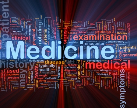 Background concept wordcloud illustration of medicine health industry glowing light Stock Illustration - 9914674
