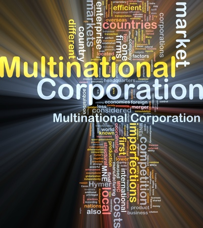 Background concept wordcloud illustration of multinational corporation glowing light illustration