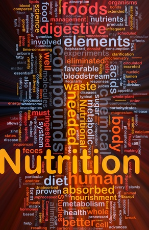 Background concept wordcloud illustration of nutrition food health glowing light Stock Illustration - 9914675