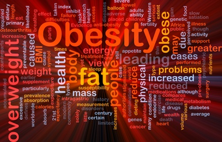 bowel surgery: Background concept wordcloud illustration of obesity fat overweight glowing light Stock Photo