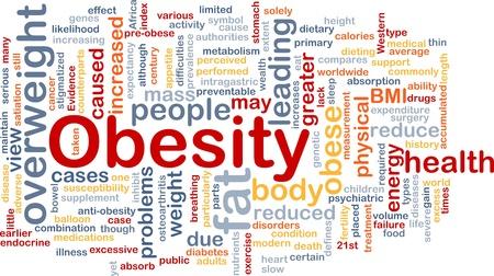 sobrepeso: Ilustraci�n de wordcloud concepto de fondo de grasa obesidad sobrepeso Foto de archivo