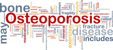 Background concept wordcloud illustration of osteoperosis bone disease
