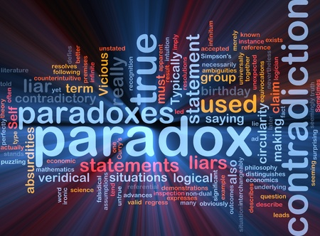 contradiction: Background concept wordcloud illustration of Paradox contradiction glowing light Stock Photo