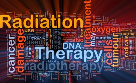 radiotherapy: Background concept wordcloud illustration of medical radiation therapy glowing light Stock Photo