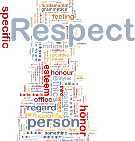 grammatical: Background concept wordcloud illustration of respect