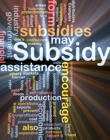 protectionism: Background concept wordcloud illustration of subsidy glowing light Stock Photo