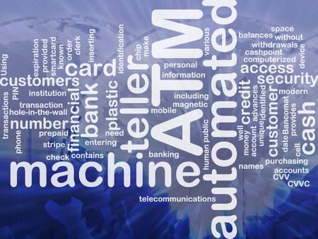 bancomat: Word cloud concept illustration ATM Automated Teller Machine international Stock Photo