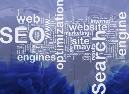 Word cloud concept illustration of SEO Search Engine Optimization international illustration