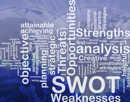 Word cloud concept illustration of SWOT strengths weaknesses international illustration