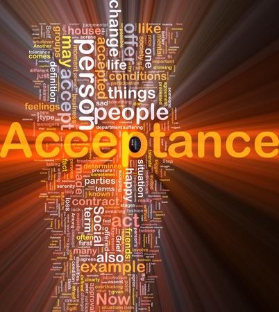 Background concept wordcloud illustration of acceptance glowing light Banque d'images