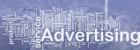 Word cloud concept illustration of media advertising international illustration