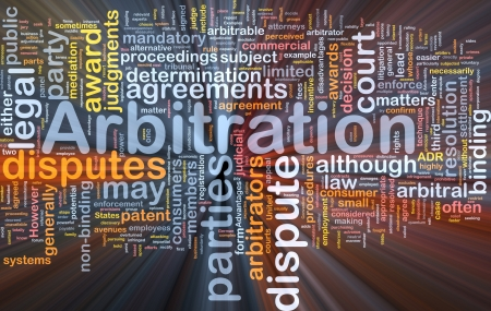proceeding: Background concept wordcloud illustration of arbitration glowing light Stock Photo