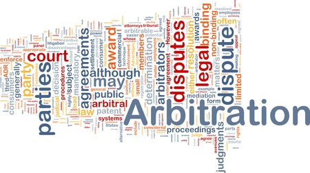 resolutions: Background concept wordcloud illustration of arbitration