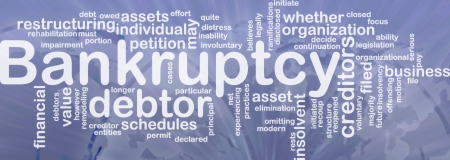 Word cloud concept illustration of financial bankruptcy international