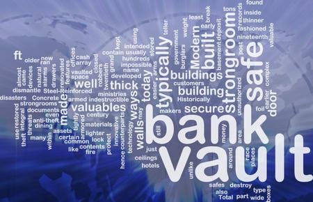 Word cloud concept illustration of bank vault international illustration