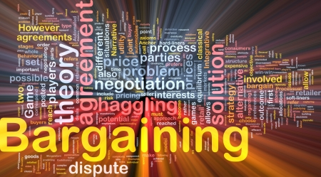negotiations: Background concept wordcloud illustration of bargaining glowing light Stock Photo