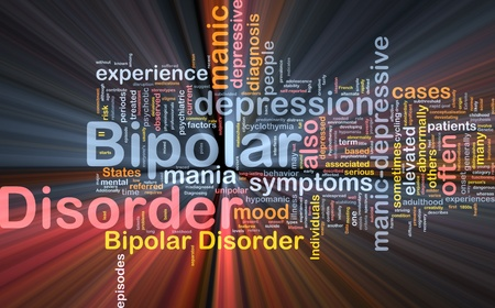 mania: Background concept wordcloud illustration of bipolar disorder glowing light Stock Photo