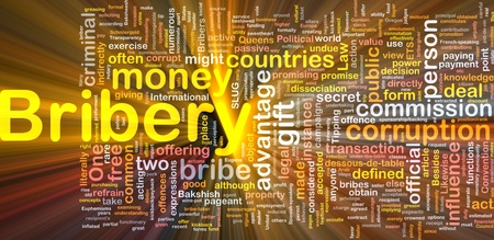 dissociation: Background concept wordcloud illustration of bribery glowing light