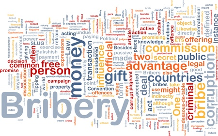 Background concept wordcloud illustration of bribery Stock Illustration - 9914797