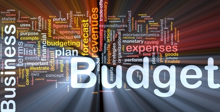 enable: Background concept wordcloud illustration of budget glowing light