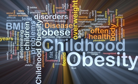 negatively: Background concept wordcloud illustration of childhood obesity glowing light