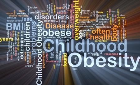 obesidad infantil: Ilustraci�n de wordcloud concepto de fondo de la luz brillante de obesidad infantil Foto de archivo