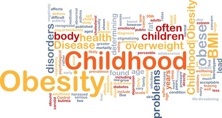 Background concept wordcloud illustration of childhood obesity Stock Illustration - 9914708