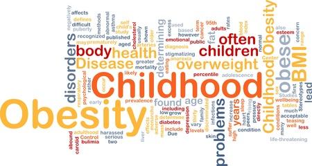 definici�n: Ilustraci�n de wordcloud concepto de fondo de la obesidad infantil