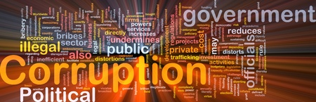 bribes: Background concept wordcloud illustration of corruption glowing light