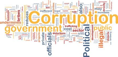 Background concept wordcloud illustration of corruption illustration