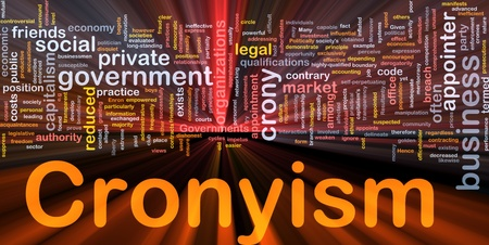 influential: Background concept wordcloud illustration of cronyism glowing light Stock Photo