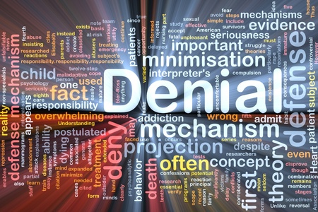 Background concept wordcloud illustration of denial glowing light Stock Illustration - 9914819