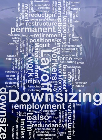 downsizing: Word cloud concept illustration of downsizing restructuring international Stock Photo