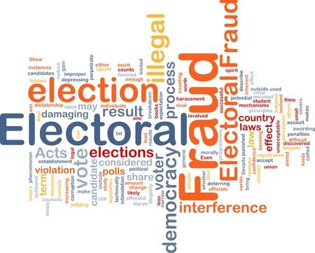 electoral: Background concept wordcloud illustration of electoral fraud