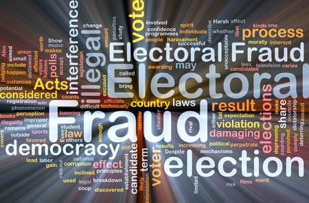 voter: Background concept wordcloud illustration of electoral fraud glowing light