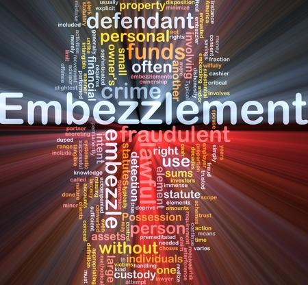 involving: Background concept wordcloud illustration of embezzlement glowing light Stock Photo