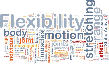 tendons: Background concept wordcloud illustration of flexibility Stock Photo