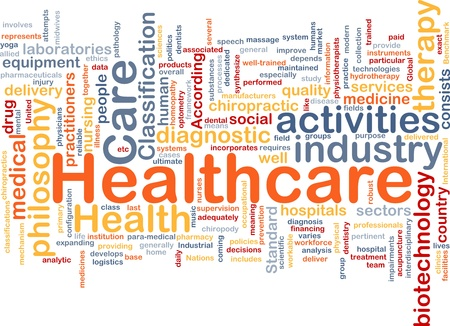 health facilities: Background concept wordcloud illustration of healthcare Stock Photo