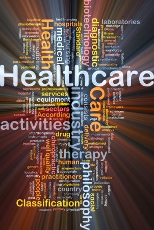 health care facility: Background concept wordcloud illustration of healthcare glowing light Stock Photo