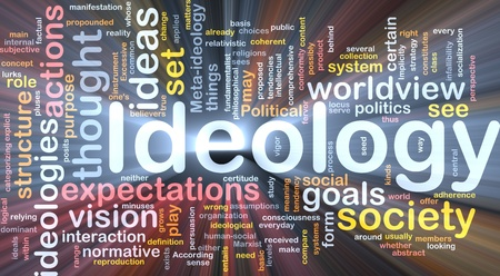 Background concept wordcloud illustration of ideology glowing light Stock Illustration - 9914779