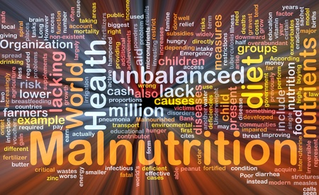 poor health: Background concept wordcloud illustration of malnutrition glowing light