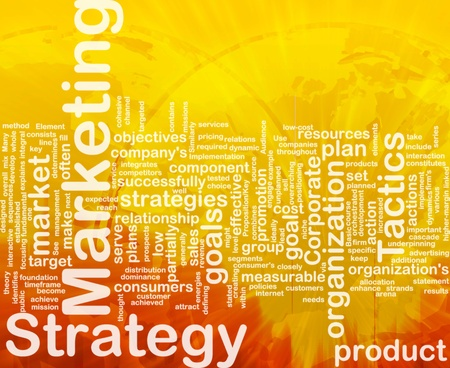 relationsip: Word cloud concept illustration of marketing strategy international Stock Photo