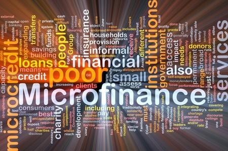 Hintergrund Konzept Wordcloud Microfinance glühenden Licht