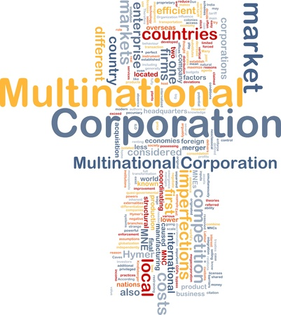 multinational: Background concept wordcloud illustration of multinational corporation Stock Photo