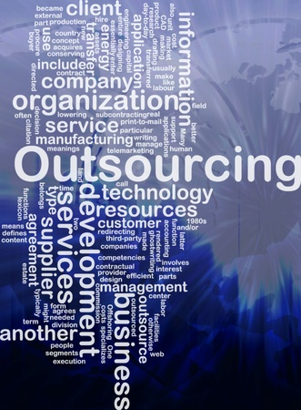 Word cloud concept illustration of business outsourcing international illustration