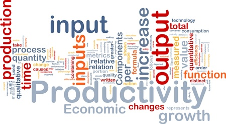 measured: Background concept wordcloud illustration of productivity Stock Photo