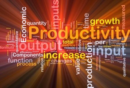 生産性: 生産性の輝く光の背景概念 wordcloud イラスト