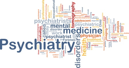 Background concept wordcloud illustration of psychiatry illustration